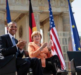 Ομπάμα - Μέρκελ πίνουν παγωμένες μπύρες & τρώνε πρέτζελς - Κυρίως Φωτογραφία - Gallery - Video