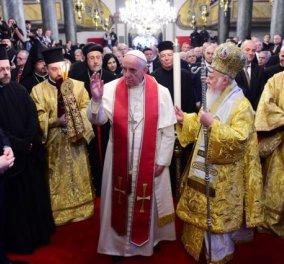 Oι εικόνες μιας ιστορικής συνάντησης: Πάπας - Πατριάρχης μαζί και αγαπημένοι στον απόηχο της Ισλαμικής απειλής! (Φωτό) - Κυρίως Φωτογραφία - Gallery - Video