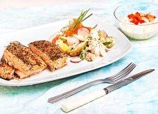 Φρέσκος ψητός σολομός με κρούστα, σάλτσα ταρτάρ και λαχανικά με ντρέσινγκ μαγιονέζας από την Αργυρώ Μπαρμπαρίγου - Κυρίως Φωτογραφία - Gallery - Video
