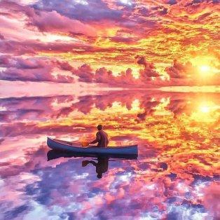 Μαγική βόλτα με βάρκα - Σε ροζ, μωβ, γαλάζιους τόνους η θάλασσα και ο ουρανός @art_siroj  - Κυρίως Φωτογραφία - Gallery - Video