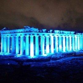 Bleu- Nuit η Ακρόπολη: Φωτογραφίες με τον ιερό βράχο στα μπλε προς χάριν της Unicef (φώτο-βίντεο) - Κυρίως Φωτογραφία - Gallery - Video